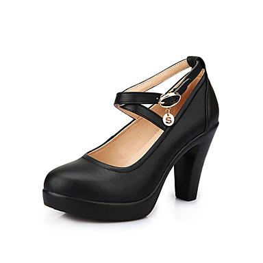 Mulheres Sapatos Couro Primavera Outono Sapatos formais Saltos Salto Robusto Dedo Apontado para Escritório e Carreira Preto