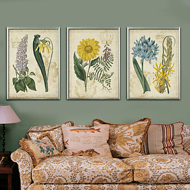 Postarzane Kwiatowy/Roślinny Ilustracja Wall Art,PVC (polichlorek winylu) Materiał z ramą For Dekoracja domowa rama Art Living Room