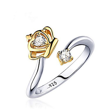 voordelige Herensieraden-Dames Ringen voor stelletjes обернуть кольцо Diamant Kubieke Zirkonia 1 Goud Wit Verguld Modieus Bruiloft Lahja Sieraden Tweekleurig twee stenen Kroon