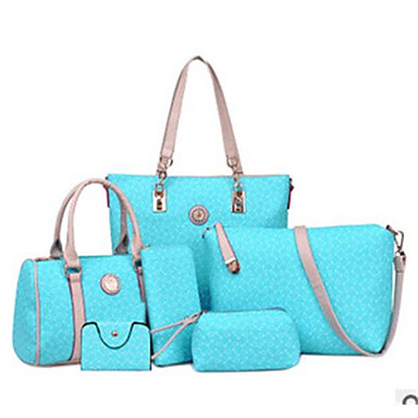 voordelige Tassen-Dames Patroon / Print PU zak Set Bag Sets 5 stuks Purse Set Hemelsblauw / Paars / Blozend Roze