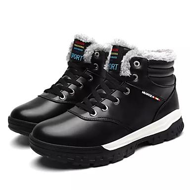Herrn Schuhe PU Winter Schneestiefel Komfort Stiefel Booties / Stiefeletten für Normal Draussen Schwarz Braun Blau