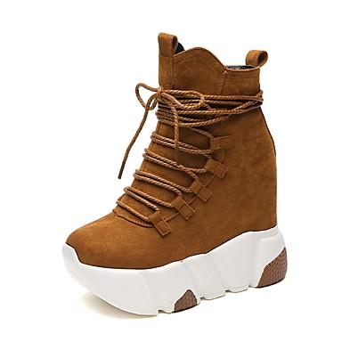 Damen Schuhe PU Frühjahr, Herbst, Winter, Sommer Komfort Stiefel Runde Zehe Schnürsenkel für Normal Schwarz Braun