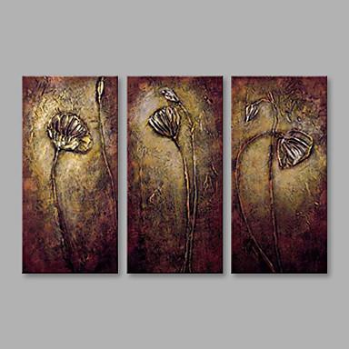 Ręcznie malowane Kwiatowy/Roślinny Poziomy, Nowoczesny Brezentowy Hang-Malowane obraz olejny Dekoracja domowa Trzy panele