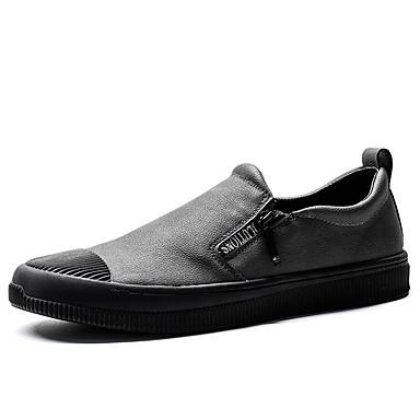 Męskie Buty Nappa Leather Wiosna / Jesień Comfort Mokasyny i pantofle Black / Gray