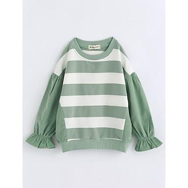 Mädchen Bluse Gestreift Baumwolle Herbst Langarm Grün