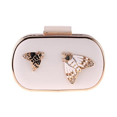 Damen Taschen PU Abendtasche Schmetterling Design / Perlenstickerei / Kristalle / Strass Weiß / Schwarz