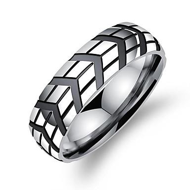 Męskie Band Ring Silver Stal Tytan Geometric Shape Modny Koreański Codzienny Formalny Biżuteria kostiumowa