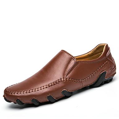 Męskie Buty Derma Skóra Wiosna Lato Comfort Mokasyny i pantofle na Casual White Black Brown