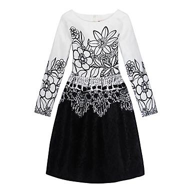 Mädchen Kleid Veranstaltung / Fest Alltagskleidung Baumwolle Polyester Langarm Niedlich Freizeit Prinzessin Weiß