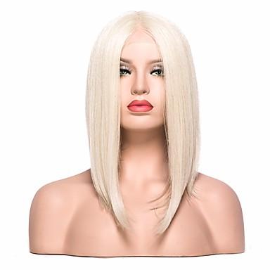 Syntetyczne koronkowe peruki Prosta Blond Fryzura Bob / Z Baby Hair Włosie synetyczne Blond Peruka Damskie Krótkie Siateczka z przodu Jasne złoto