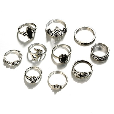 Damskie Pierścień oświadczenia Akrylowy 10pcs Silver Stop Crown Shape Nieregularny Hip-Hop Rock Codzienny Wieczór i specjalne okazje