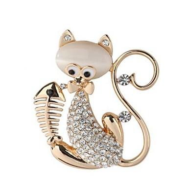 Damskie Opal Broszki - Opal, Imitacja diamentu Kot, Zwierzę Słodkie Broszka Złoty / Srebrny Na Codzienny / Wyjściowe