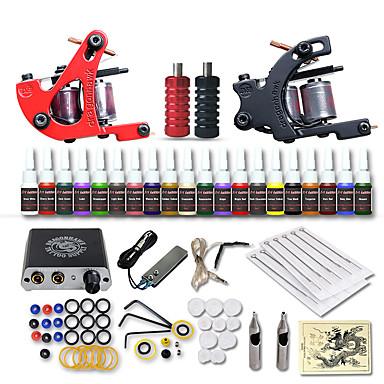 お買い得  クリアランス-DRAGONHAWK タトゥーマシン スターターキット - 2 pcs タトゥーマシン とともに 20 x 5 ml タトゥーインク, プロフェッショナル, 安全用具, 簡単装着 ミニ電源 No case ライニングとシェーディングのために2×合金の入れ墨機械