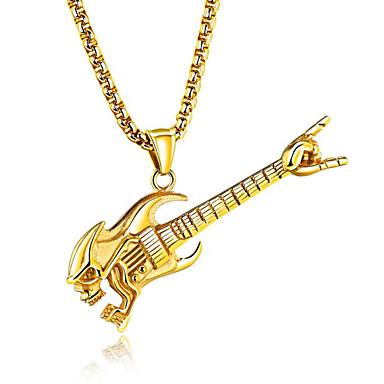 abordables Collier-Collier Pendentif Homme Musique Guitare Mode Hip-Hop Dorée Argent Colliers Tendance Bijoux pour Soirée Bar