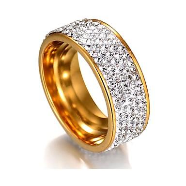 levne Dámské šperky-Dámské Band Ring / Eternity Ring Kubický zirkon / drobný diamant 1 Stříbrná / Zlatá Nerez Geometric Shape dámy / Klasické / Základní Svatební / Promoce Kostýmní šperky