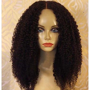 Włosy naturalne Front lace bez kleju / Koronkowy przód Peruka Włosy peruwiańskie Perwersyjny Kędzierzawy Peruka Z baby hair 150% Naturalna linia włosów Damskie Medium Peruki z włosów ludzkich