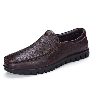Męskie Komfortowe buty Skóra / Sztuczna skóra Wiosna / Jesień Mokasyny i buty wsuwane Czarny / Ciemnobrązowy
