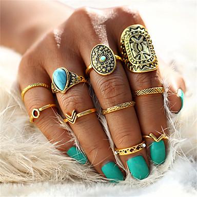 billige Motering-Dame Nail Finger Ring / Ringer Set / Pinky Ring Turkis 10pcs Gull / Sølv Legering Statement / Vintage / Bohemsk Bryllup / Fest / Bursdag Kostyme smykker