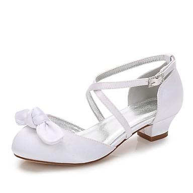 baratos Sapatos de Criança-Para Meninas Sapatos Seda Primavera Tira em T / Bailarina / Tira no Tornozelo Saltos Laço / Apliques / Presilha para Branco / Ivory