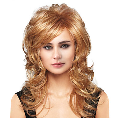 Human Hair Capless Parykar Äkta hår Kroppsvågor Sidodel Lång Maskingjord Peruk Dam