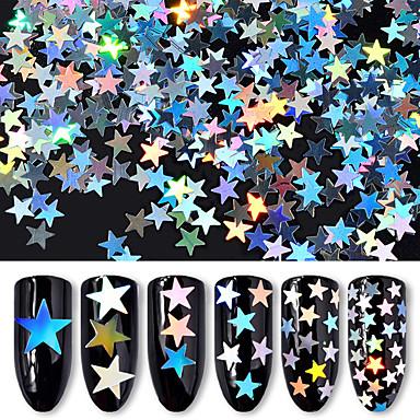 6 flaschen / set laser holographische nagel pailletten star glitter maniküre nail art frauen diy dekorationen 6 farben paket