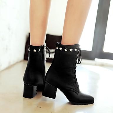 Femme mollet Rivet Automne la Mode Printemps Bottes 06373867 Jaune Rouge Bottes Similicuir à Noir pointu Mi Bout Chaussures Bottes Confort rq16r