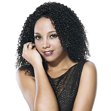Syntetyczne koronkowe peruki Afro / Jerry Curl Włosy syntetyczne Peruka afroamerykańska Czarny Peruka Damskie Medium Peruka naturalna /