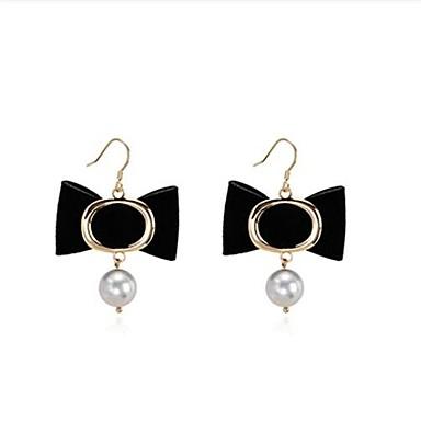 Damskie Bowknot Shape Pearl imitacja Kolczyki wiszące - Słodkie Black Silver Bowknot Shape Kolczyki Na Cicha sympatia Randka