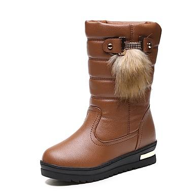 Damen Schuhe PU Winter Komfort Modische Stiefel Flaum Futter Stiefel Runde Zehe Mittelhohe Stiefel Bommel für Normal Weiß Schwarz Khaki