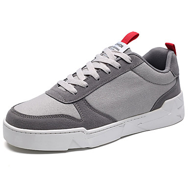 Herrn Schuhe PU Frühling / Herbst Komfort Sneakers Schwarz / Grau / Rot
