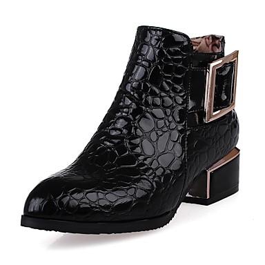 Damen Schuhe Kunstleder PU Winter Komfort Neuheit Modische Stiefel Stiefel Runde Zehe Booties / Stiefeletten Reißverschluss für Kleid
