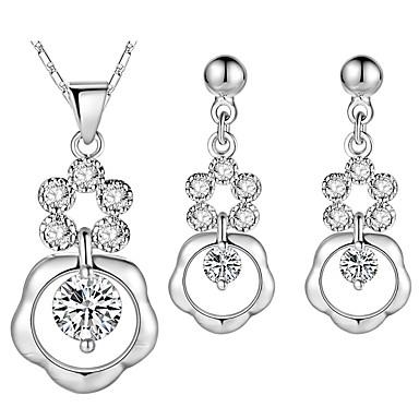 Damskie Cyrkonia, Rhinestone Biżuteria Ustaw Kolczyki wiszące, Naszyjniki z wisiorkami - Srebrny Kropla Silver