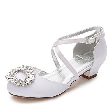 Mädchen Schuhe Seide Frühling Herbst Komfort Ballerina Knöchelriemen Schuhe für das Blumenmädchen Tiny Heels für Teens High Heels