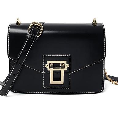Damen Taschen PU Umhängetasche Knöpfe für Normal Alle Jahreszeiten Schwarz