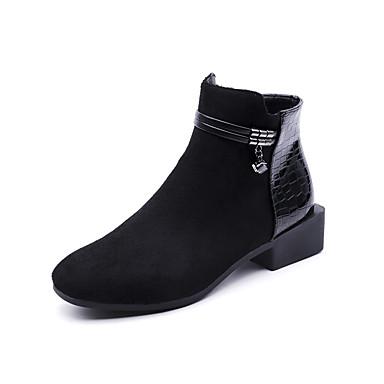 Damen Schuhe PU Frühjahr, Herbst, Winter, Sommer Springerstiefel Stiefel Runde Zehe für Normal Schwarz