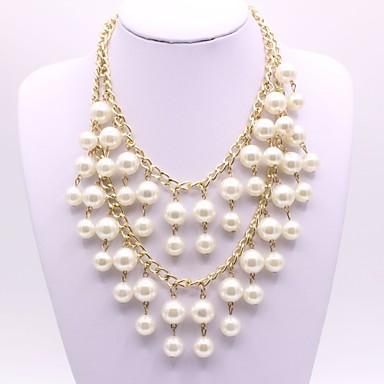 Damskie Owalne Kształt Elegancki Warstwy Naszyjniki Pearl imitacja Imitacja pereł Stop Warstwy Naszyjniki Party Wieczór Biżuteria