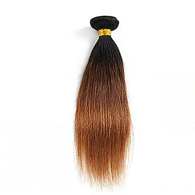 baratos Extensões de Cabelo Natural-1 pacote Cabelo Brasileiro Liso 10A Cabelo Virgem Cabelo Humano Ondulado Âmbar Tramas de cabelo humano Extensões de cabelo humano / Reto