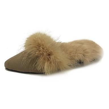 Damen Schuhe Wildleder Winter Komfort Cloggs & Pantoletten Runde Zehe für Normal Schwarz Khaki
