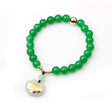 Damskie Synthetic Emerald Kryształ Bransoletki Strand - Azjatycki Klasyczny Circle Shape Green Bransoletki Na Urodziny Wyjściowe