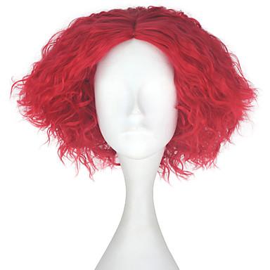 Peruki syntetyczne Kinky Curly Gęstość Bez czepka Męskie Czerwony Karnawałowa Wig Halloween Wig Peruka imprezowa Lolita Wig Peruka
