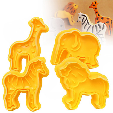 4 teile / satz cookie plunger cutters keks fondant kuchenform 3d tier elefanten sugarcraft decor handwerk