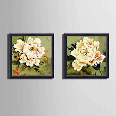 Oprawione płótno Zestaw w oprawie Martwa natura Kwiatowy/Roślinny Botaniczny Wall Art, PVC (polichlorek winylu) Materiał z ramą Dekoracja