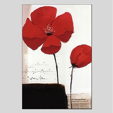 Ręcznie malowane Kwiatowy/Roślinny Pionowo Panoramiczny Brezentowy Hang-Malowane obraz olejny Dekoracja domowa Jeden panel