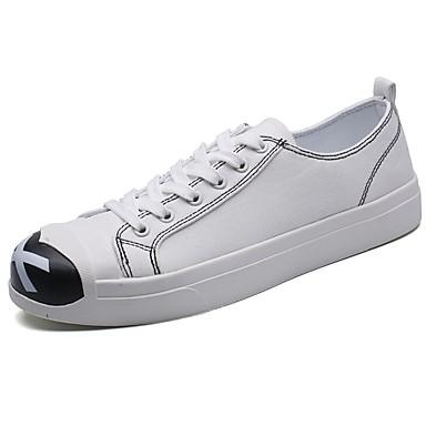 Męskie Buty Materiał Wiosna Jesień Comfort Tenisówki na Casual White Black