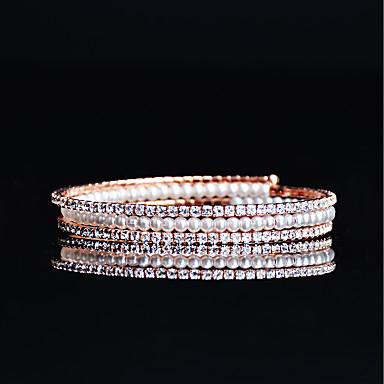 Damskie Bransolety Tenis Rhinestone Perła Cyrkonia Pokryte różowym złotem Biżuteria Ślub Party Wieczór Biżuteria kostiumowa