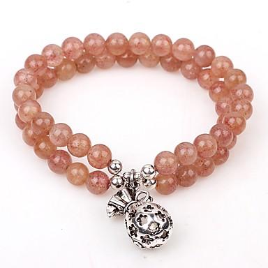 abordables Bracelet-Breloque Charms Bracelet Bracelet à Perles Femme Cristal Cristal Fraise Classique Bracelet Bijoux Beige Forme de Cercle pour Quotidien Sortie