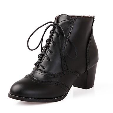 Damen Schuhe Kunstleder PU Winter Komfort Neuheit Modische Stiefel Stiefel Runde Zehe Booties / Stiefeletten Schnürsenkel für Kleid Party