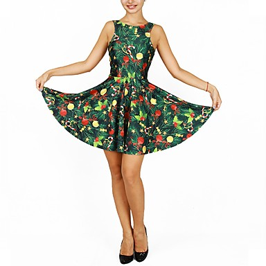 Christmas Trees ドレス 女性用 クリスマス イベント/ホリデー ハロウィーンコスチューム グリーン クリスマス