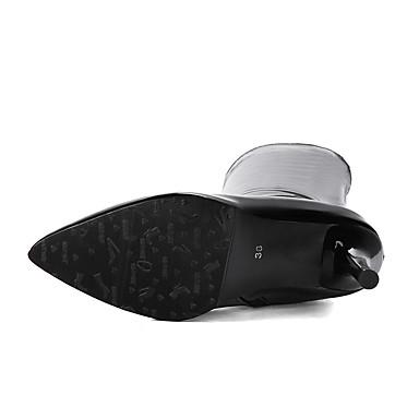 Polyuréthane à Automne Chaussures Blanc Cuir 06411692 Bottes Bout pointu Noir Hiver la Talon Femme Verni Mode Cuissardes Bottes Aiguille 0nItH5qq