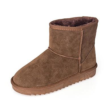 Damen Schuhe PU Winter Schneestiefel Stiefel Runde Zehe für Normal Kleid Schwarz Khaki